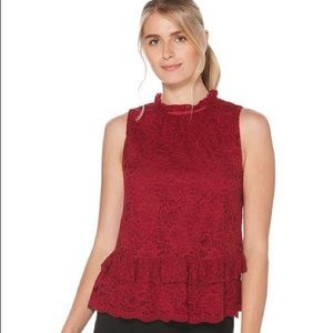 Laundry By Shelli Segal Sleeveless Ruffle Lace Top